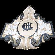 Monumental 19th Century Cast Iron Crest Lintel Pediment Over Door Architectural Ornament Laurel Leaves