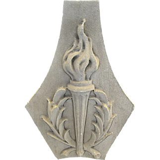 Very Large 19th Century Architectural American Limestone Fragment Torch Torchere Motif