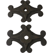 Pair of Cast Iron Architectural Anchor Plates Wall Washers Masonry Bolts
