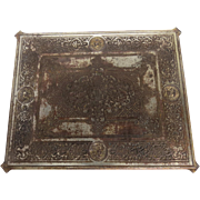 1890's Chrome Plated Cast Iron Grill Panel Cover Grate Angel Faces