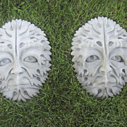 Pair of Cast Garden Wall Plaque Gothic Green Man