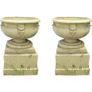 Pair of Large Glazed Terra Cotta Urns Planters on Plinths Bases Denver Pottery Works c 1900