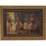 Painting Oil on Canvas of Ballerinas by Steven Shortridge.