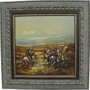 Vintage Untitled Oil on Canvas of Men on Horseback by Steven Shortridge