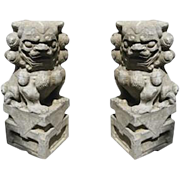 Pair of Fabulous Carved Stone Foo Dogs