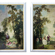 Pair Large Painted Panels Depicting Romantic French Genre Scenes