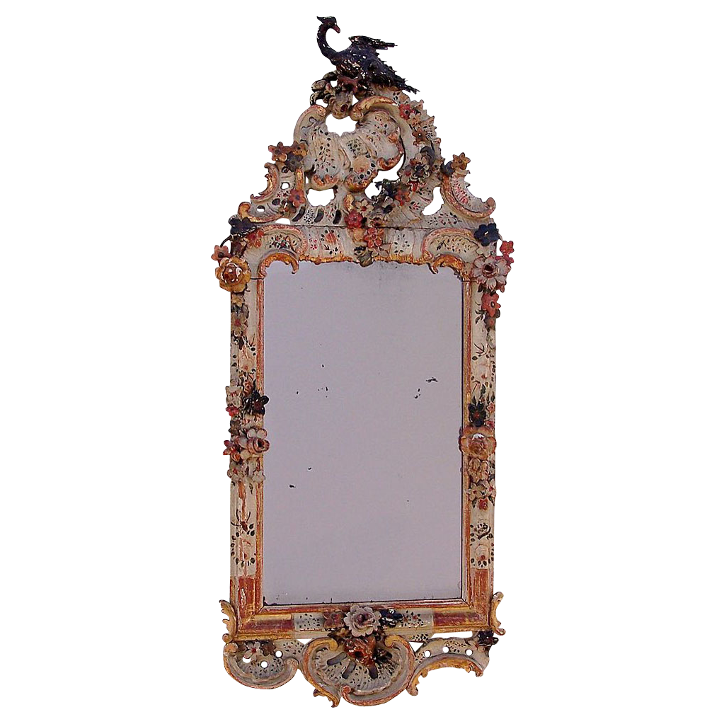 Wonderful Italian Carved and Painted Mirror