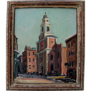 Oil on Canvas by Russell Cheney St. Stephens Church - Charles Bulfinch Boston, Massachusetts Signed