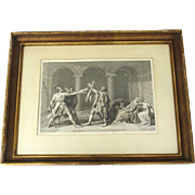 19th Century Oath of the Horatii Original Print Engraving after Jacques Louis David Painting
