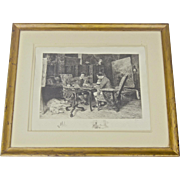 Original Etching by American Artist James Fagan  after Ernest Meissonier 1901