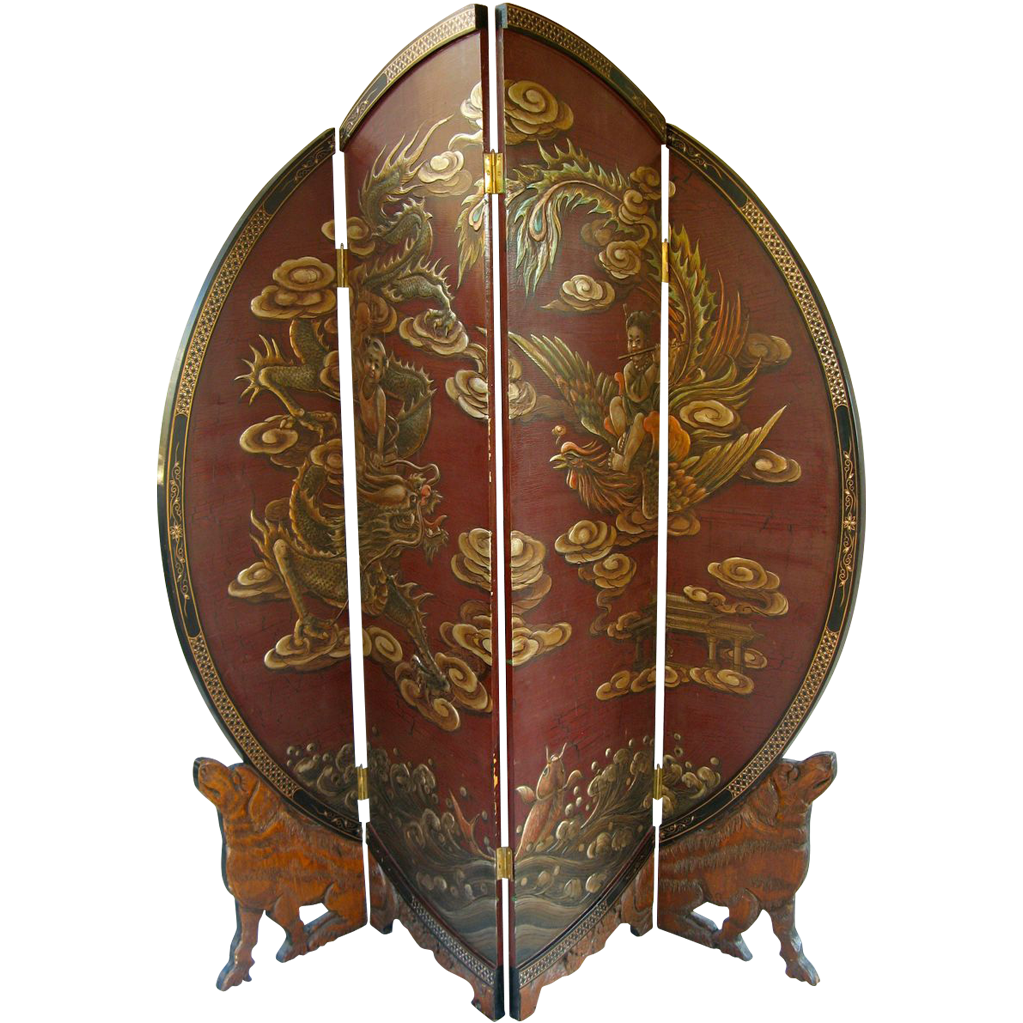Red and Gilt Round Four Panel Folding Screen