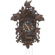 Black Forest Carved Bird Fox Cuckoo Clock c 1900