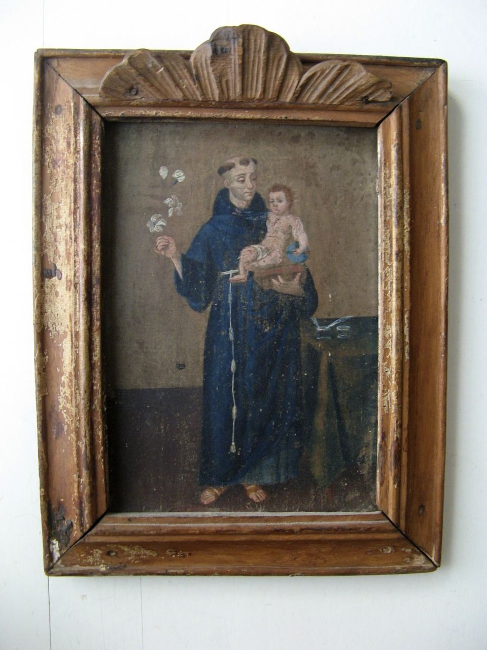 Spanish Colonial Painting On Board In Original Frame Baby