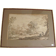 17th Century Italian Landscape Ink and Wash