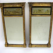 Pair of English Gilt and Eglomise Mirrors