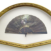 19th Century Hand Painted Fan in Water Gilt Case Frame