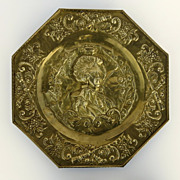 Brass Octagon Repousse Plaque French Woman Bust