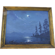 Oil on Board by Frank Montague Moore Entitled Moon Night Lake Tahoe.