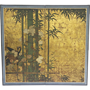 Early 19th Century Japanese Edo Period Two Panel Screen with Gilt background Raised Flowers Crane and Bamboo Motif.