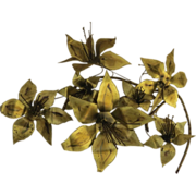 Brass Wall Sculpture by Stephen Vat, 1980's Signed Flowers