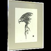 Vintage Lithograph Signed Numbered Hawk by Vivian Bojum