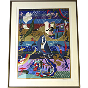 Vintage Signed Numbered Serigraph by Raphael Abecassis Judaica