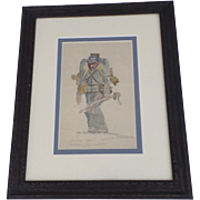 WW I French Soldier Watercolor Framed