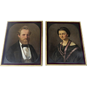 19th Century Pair of European Portraits of Husband and Wife