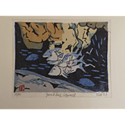 Yurab Reef Cozumel Woodblock by Telk 1987