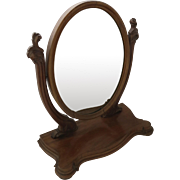 Mahogany Dressing Mirror Large Oval c 1870
