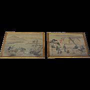 "19th Century Japanese Paintings on Silk Large ""Views of Edo"" and ""Fishing Scene of Fujiyama"" Pair"