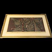 Very fine Print by Tadashi Nakayama of Three Horses