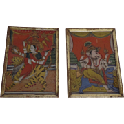 Late 19th Early 20th Century India Reverse Paintings in Gilt Frames
