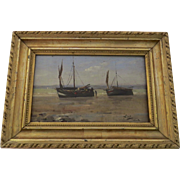 19th Century French Oil Painting on Board by Joseph Villevieille 1829-1916