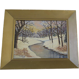 Singed Dated Painting on Artist Board Winter Scene River Bed H. W. Dutton 1955