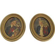 "Pair of Vintage Scottish Scotland Theme Prints in Oval Frames by Edward Gross Co. Inc New York ""Jeannie & Jamie"" by Allaben"