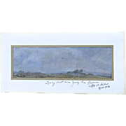 Vintage Small Painting Spring Mist over Jersey Pine Barrens by Peter Allen 1987