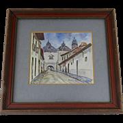 "Small Framed Painting On Canvas Arco De Sto. Domingo, Quito, Equador by ""R. Salguero"""