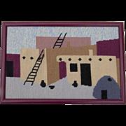 Very Fine Vintage Needlepoint Gross Point Canvas Adobe Pots Ladders Santa Fe