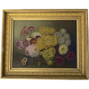 Oil on Canvas Bouquet Flowers Framed Signed Mums Crysthanamum