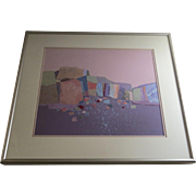 "Signed Dated Polychrome Acrylic Collage Cubist Squares and Shapes by Dorothy A. Talbott ""Cliffs"" 1988"