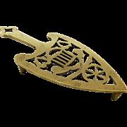 Brass 19th Century Trivet Hearts Engraved Initials Fireside