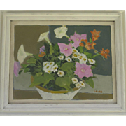 Still Life Oil Painting Mid-Century Signed