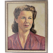 Vintage Mark Kiryluk Oil Painting Portrait on Canvas Framed '50's Mid Century Handsome Woman Signed