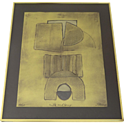 """Milk and Honey""  Limited Edition Collagraph by Sica Metallic Abstract Framed"