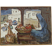 Painting Oil on Canvas (Mexican Market) by Maria Lowenstein (1894-1982).