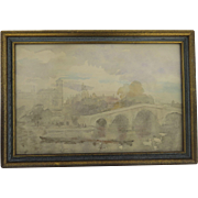 Watercolor Looking Far from the City Buildings and Richmond Bridge by Philip Connard 1875-1958