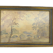 Watercolor Looking a Far from Richmond Bridge  by Philip Connard 1875-1958