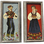 Scandinavian Ethnic Tapestry Folk Art Wool Needlepoint  Man and Woman with Traditional Folk Dress Bunad Solje Norway, Sweden Finland