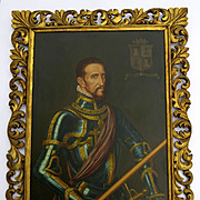 Vintage Oil on Canvas Portrait Spanish in Armor and Sword